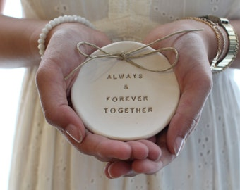 Ring bearer pillow alternative, Always and forever together Ceramic Wedding ring dish Alternative wedding Ring pillow Ring dish