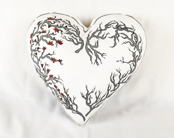 White Valentines Heart Pillow