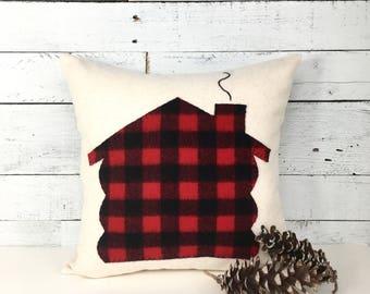 Cabin Pillow, Log Cabin Pillow, Rustic Home Decor, Buffalo Plaid Pillow, Ski Lodge Pillow, Cabin Decor, Plaid Pillows, Red and Black Plaid