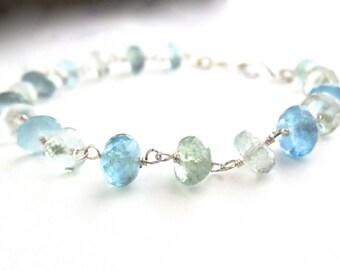 Blue Aquamarine Gemstone Bracelet. Natural Blue Green Genuine Gemstone Sterling Silver Bracelet
