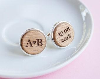 Wedding Cuff Links, Personalized Cufflinks,  Custom Engraved Wood Cuff links,  Wedding Date and Initials Jewelry, Groom Accessories