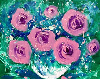 Pink roses, Original oil painting, Floral painting, pink roses painting, Small painting  9x12, Palette Knife Painting,Still Life Painting