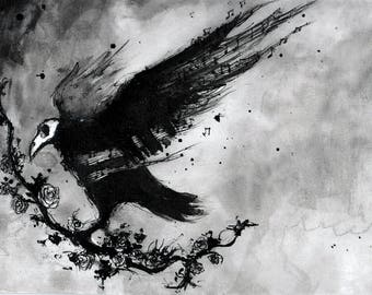 Crow painting - Ink on 8x12in canvas, A4, 20x30cm - abstract crow with music notes