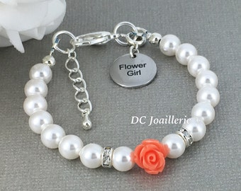 Coral Flower Bracelet Pearl and Flower Bracelet Swarovski Bracelet Flower Girl Gift Coral Bracelet Flower Girl Jewelry Pearl Bracelet