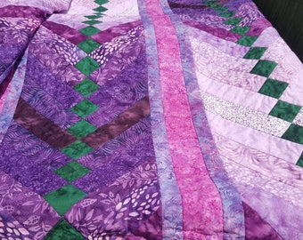 Queen Purple Batik French Braid Handmade Quilt