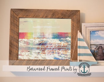Peace and Calm Ocean Poem Rainbow - Reclaimed Barnwood Framed Print - Ready to Hang - Sizes at Dropdown