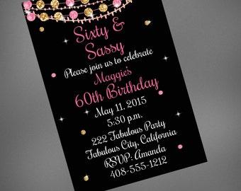 60th Birthday Invitation, Sixty & Sassy Invitation, Pink and Black Invite