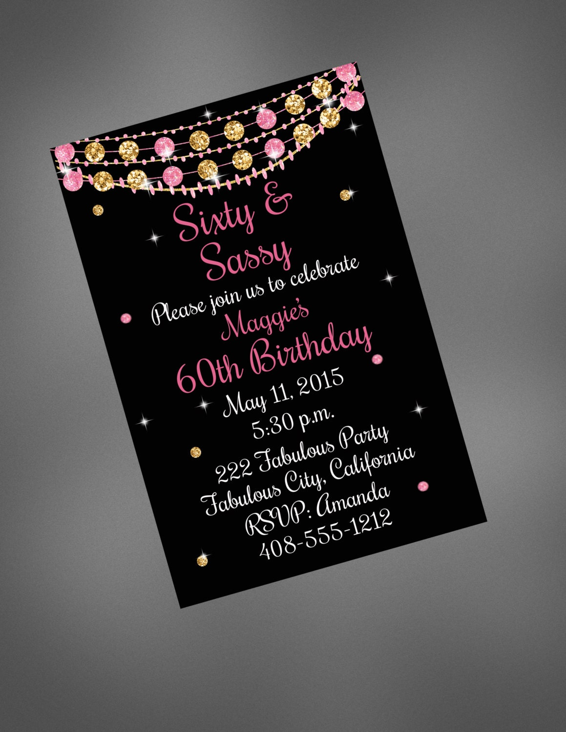 60th Birthday Invitation Sixty & Sassy Invitation Pink and