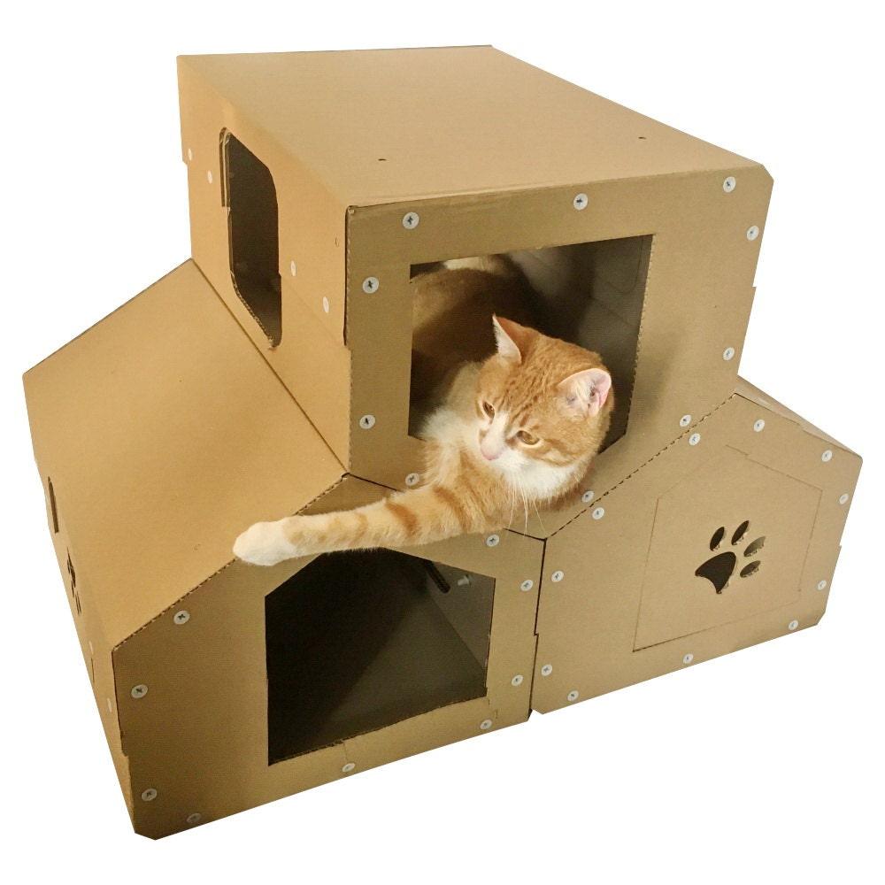penthouse de chat en carton arbre chat moderne meubles de. Black Bedroom Furniture Sets. Home Design Ideas