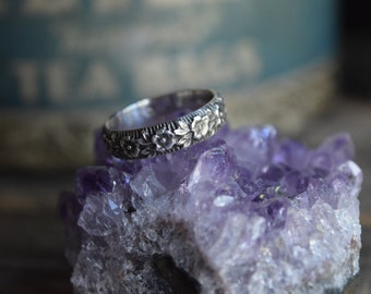 Sterling Silver Floral Ring Silver Floral Ring Band Forget Me Not Ring Floral Pattern Ring