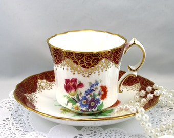 Lovely,Hammersley Teacup & Saucer, Floral Pattern, Burgundy Gilded Borders, Bone English China made in 1960s
