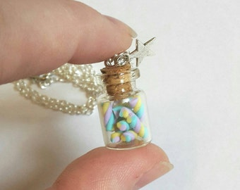 Tiny marshmallows in a jar - fairy kei sweet necklace