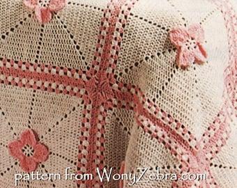 Vintage Crochet blanket afghan baby blanket crochet flower square Pattern PDF 833 granny square from WonkyZebra