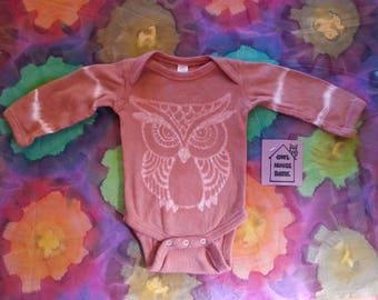 Batik Rust Orange Owl Newborn Long Sleeve Onesie