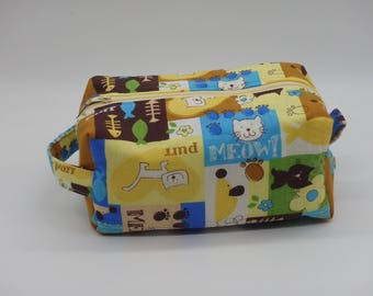 Happy Cat Pouch, Purring Kitten Bag, Zip Pouch, Ditty Bag, Toiletry Kit, Cosmetics Case, Cat Toy Bag, Shave Kit, Travel Case