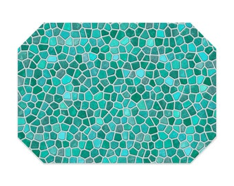 Turquoise placemat, printed cloth placemat, aqua and gray mosaic design, fabric placemat, table linens, table setting, home decor