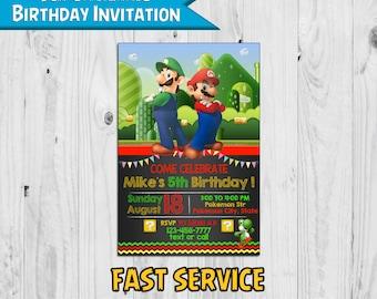 Super Mario Birthday Invitation - Printable - Digital - Personalized