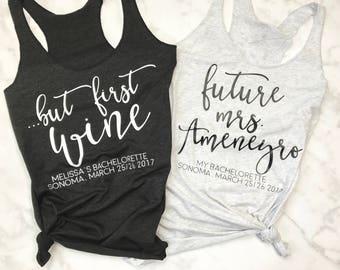 Bachelorette Tanks, Vino Tank, Bachelorette Party Shirts, Bridesmaid Shirt, Bridal Party shirts, Bachelorette Shirts, But First Wine Tank