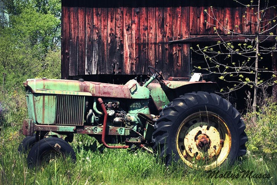 John Deere Home Decor : John deere green tractor photo old farm farmhouse art