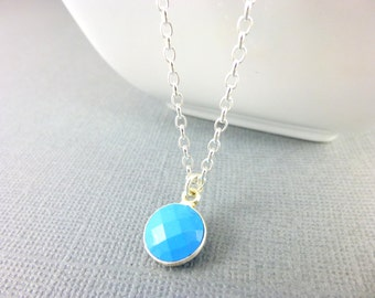 Turquoise Throat Chakra Necklace Small Turquoise Pendant and Sterling Silver Necklace Blue Summer Necklace Healing Chakra Energy Jewelry