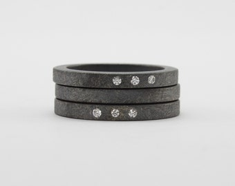 Diamond and Sterling Silver Stacking Ring Set - Oxidized Diamond Wedding Band Set - Engagement Rings - Anniversary Rings - Three Stone Rings