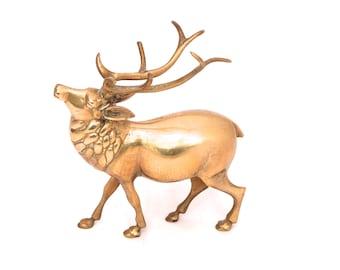 Vintage Brass Stag Figurine, Brass Deer Figurine, Deer Statue, Mid Century Brass Stag Ornament, Hollywood Regency Brass Buck Deer