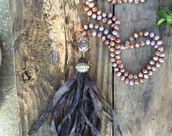 Madam Elizabeth Necklace/Shabby Boho Chic Necklace/ Crystal Pendant/Silk Sari Tassel