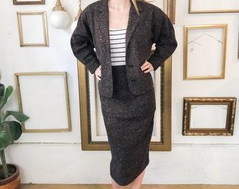 Vintage Pencil Skirt Suit Set Grey Rainbow - sz M - Free Ship