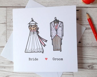 Bride Groom wedding invitations, square side folded personalised illustrated wedding invites, wedding stationary, marriage announcement