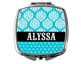 Custom Bridesmaids Gifts - Personalized Compact Mirror - Turquoise Wedding - Personalized Bridesmaids Gifts