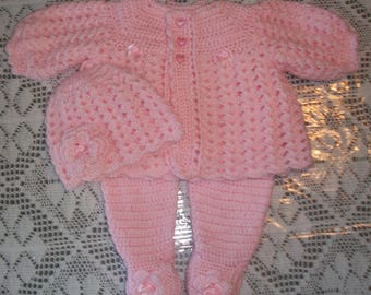 Crochet  Baby Girl Pink Sweater Set Layette with Leggings and Flower Cloche Outfit Perfect for Baby Shower Gift or Take Home Outfit
