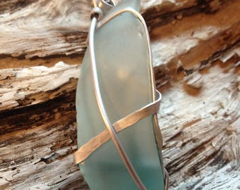 Soothing Sea Beach Glass Hammered Aluminum Pendant, Crafted and Sourced  Hatteras Island, Outer Banks, NC.