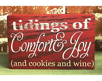 Tidings of Comfort and Joy, Wine Christmas Sign, Funny White Elephant Gift, Office Christmas Decor, Wine Lover Gift, Funny Gift for Coworker