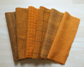 Orange - Hand Dyed Felted Wool in a Beautiful Collection a Perfect Rug Hooking and Applique Wool
