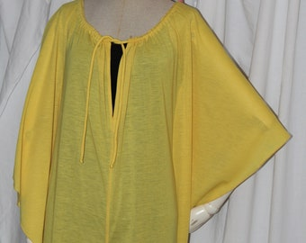 Vintage jumpsuit, canary yellow, batwing cape sleeves, 70s 80s avant-garde, space age, drawstring neck, jersey cloth