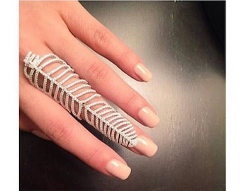 Feather Sterling Silver Full Finger Statement Knuckle Ring Rose Gold and Platinum Plating