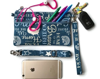 Patriotic American Phone Case, Smartphone Wristlet, iPhone 6 PLUS, Cell Phone Wristlet, Crossbody Wallet, Smartphone Purse, Text and Tote®