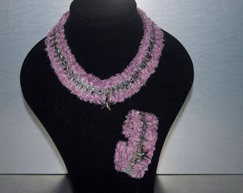 Tin tabs necklace with matching bracelet
