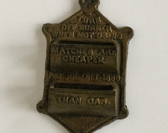 Vintage Cast Iron Match Safe With Striker