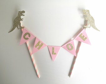 Dinosaur Cake Topper Pink and Gold Personalised Bunting