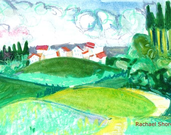 Rolling Countryside Plein Air watercolor 11x14 giclee print,Germany,Europe,impressionist,expressive,colorful,rolling hills,sketch,travel,art