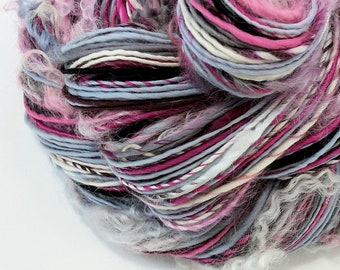 Textured Yarn, Handspun Art Yarn, Handspun Yarn, Art Yarn, Knitting, Weaving, Crochet, Pink Gray White, Worsted Weight Yarn - TWILIGHT