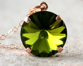 Olive | Swarovski Necklace | Crystal Necklace | Swarovski Crystal | Rose Gold Necklace | Beach Wedding | Olive Wedding | Olivine Necklace