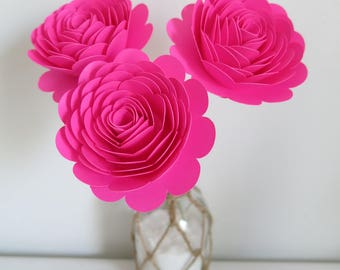 Fuchsia Roses on Stems, Set of 3, 3 Inch Hot Pink Paper Flowers, Wedding Reception Decorations, Bridal Shower Decor, Girl Birthday Party