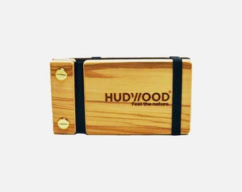 Wooden Business Card Holder Case - Customized - Olive