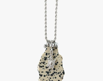 Dalmatian Raw Stone Slice Pendant Necklace with Turtle Charm on Stainless Steel Chain