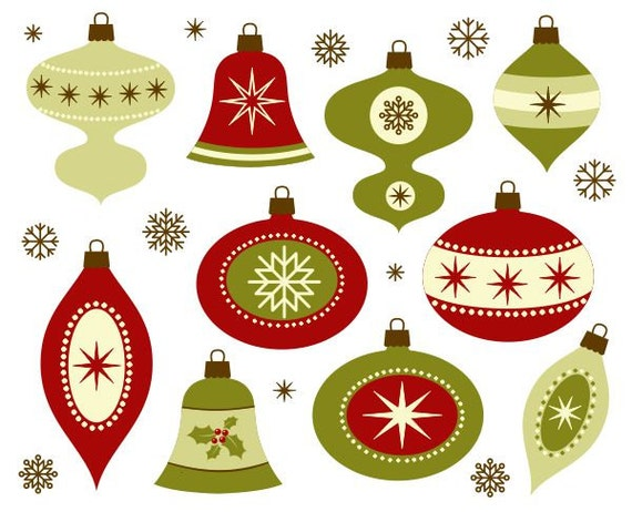 Items similar to Retro Christmas Decoration Clip Art - New ...