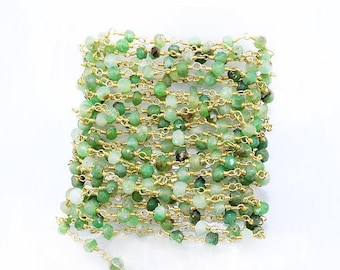 Wholesale Chrysoprase beads rosary chain, 3-4mm Gold Plated wire wrapped link Stone rosary Chain,,10,20,50 Feet Bulk Free Shipping