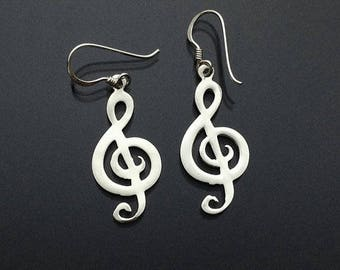 925 Solid Sterling Silver MUSIC NOTE Earrings / Treble Clef Earrings / Music Lover Jewelry/ Dangle/ Hook Earrings
