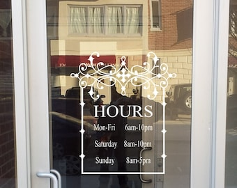 Store Front Sign with Your Hours-Vinyl Decal- Store- Sign- Store Display- Decal- Boutique- Business- Sign Hours of Operation